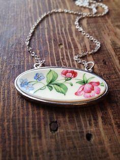 Broken Vintage China Necklace by CellarDoorShoppe on Etsy, $40.00