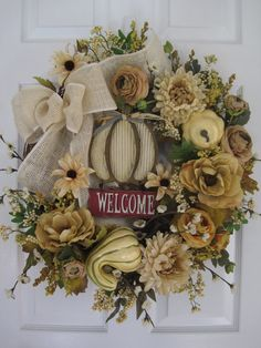 AUTUMN LIGHTS Ranunculus Magnolias Wood WELCOME Sign by funflorals, $140.00