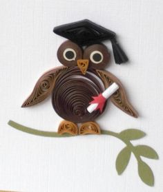 Graduation card quilling wise owl by PaperDaisyCards on Etsy Quilling Images, Paper Quilling Patterns, Quilling Paper Craft, Paper Crafts, Quilling Ideas, Graduation Cards Handmade, Handmade Cards, Quilled Creations, Heartfelt Creations
