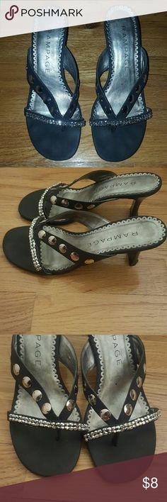 Black kitten heel sandals Black low heel sandal with metal studs. Rampage Shoes Sandals