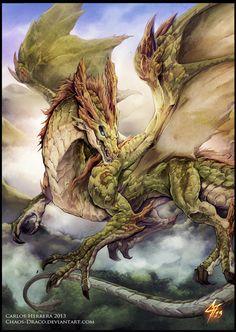 Artstation - moss dragon , carlos herrera beautiful dragon, here be dragons, dragon art Magical Creatures, Fantasy Creatures, Fantasy World, Fantasy Art, Dragons 3, Beautiful Dragon, Dragon Artwork, Dragon Pictures, Fantasy Dragon