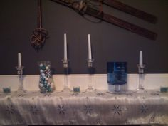winter mantle display (although I had already taken down about half the decorations before I remembered to snap a quick picture)