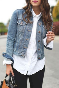 Dress up your classic denim jacket with a white button-up shirt. Pair the combo - Shirt Casuals - Ideas of Shirt Casual - Dress up your classic denim jacket with a white button-up shirt. Pair the combo with a red lip for a sassy date-night look. Mode Outfits, Jean Outfits, Winter Outfits, Casual Outfits, Dress Winter, Summer Outfits, Dress Casual, Casual Friday Work Outfits, Ladies Outfits