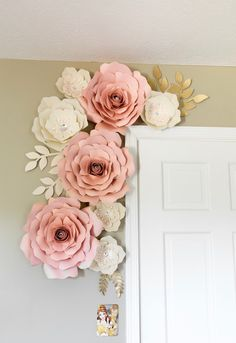 Flower wall Decoration - Blush and white paper flowers paper flower wall decor nursey wall decor backdrop wedding. White Paper Flowers, Paper Flower Wall, Flower Room Decor, Paper Flowers Wall Decor, Pink Paper, Paper Flower Backdrop Wedding, Paper Backdrop, Floral Bedroom Decor, Flower Wall Backdrop