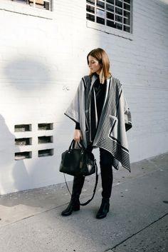 black and grey poncho, black Rag