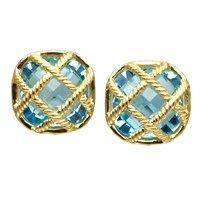 """18k Gold """"Fluted Lattice"""" Blue Topaz Earrings"""