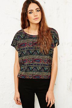 Truly Madly Deeply Paisley and Waves Tee in Green