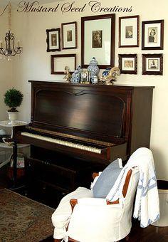 Photo Collage Above Piano Ohh Love DecoratingUpright