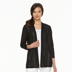 Women's Croft & Barrow® Pointelle Chevron Open Front Cardigan, Size: Medium, Black