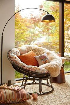 Hanging reading chair reading nook chair corner reading chair office info with for bedroom decor cozy Easy Home Decor, Home Decor Trends, Decor Ideas, Decorating Ideas, Reading Nook Chair, Reading Nooks, Reading Tree, Papasan Chair, Floor Seating