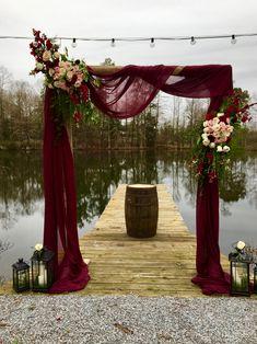 Pin By Emmalee Bolton On Garden & Florals In 2020 Maroon Wedding, Burgundy Wedding, Fall Wedding, Wedding Ceremony, Rustic Wedding, Our Wedding, Dream Wedding, Winter Wedding Arch, Christmas Wedding