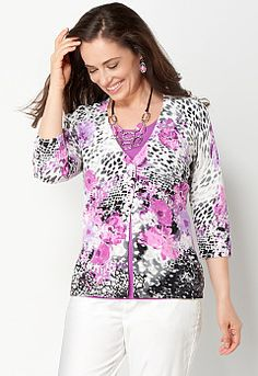 Floral Animal Cardigan, 9-0036131225, Floral Animal Cardigan Main View PGP