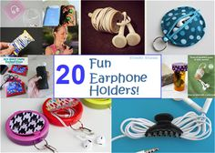 20 DIY and Recycled Earphone Cases and Holders Cute! #music #headphone #earbuds  #craft