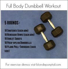 Full Body Dumbbell Workout: 5 challenging movements using only a set of dumbbells for HOME or the GYM. Full Body Dumbbell Workout: 5 challenging movements using only a set of dumbbells for HOME or the GYM. Body Fitness, Fitness Tips, Fitness Classes, Gym Body, Fitness Tracker, Men's Fitness, Fitness Studio, Workout Fitness, Fitness Motivation