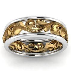 Eternity Mens Wedding Bands in 14K Yellow Gold exclusively styled by Fascinating Diamonds