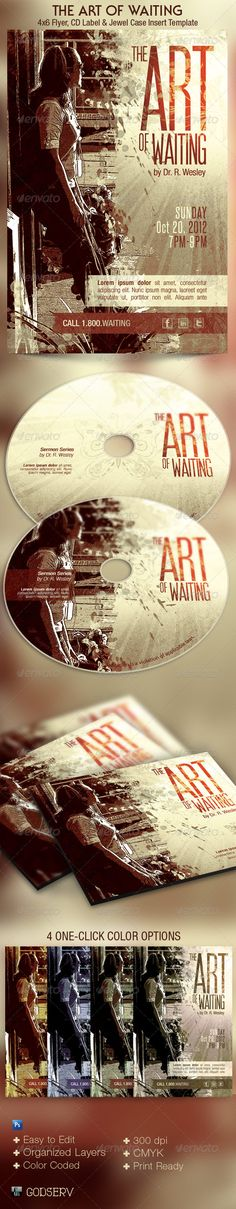 Buy Art of Waiting Retro Flyer CD Template by Godserv on GraphicRiver. Art of Waiting Retro Flyer CD Template is geared towards usage for Church Sermon Series and Bible Studies dealing wi. Event Flyer Templates, Flyer Design Templates, Print Templates, Psd Templates, Cd Artwork, Sf Movies, Church Sermon, Concert Flyer, Sermon Series