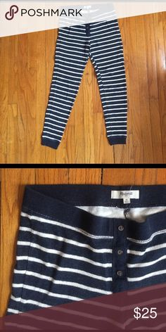 Madewell thermal leggings in M Barely worn striped leggings. Button front detailing. Madewell Intimates & Sleepwear Pajamas