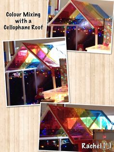 "A Fairy World... noticing colour mixing in the small world area as the light shines through the red, blue & yellow cellophane - from Rachel ("",)"