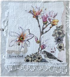 Createme's shop | Felt Fabric Art, Lace Fabric, Soft Colors, Colours, Beading Ideas, Magnolia, Stitching, Felt, Embroidery