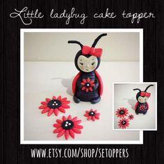 Ladybug cake topper fondant cake topper birthday cake by SEtoppers