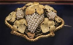 Gold and seed pearl vine brooch, English about 1851 | by Kotomi_