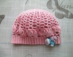 Crochet pink Baby girls HAT, fancy pattern hand-knitted crochet hat for Newborn Girl, 3 - 9 Months, handmade pink hat by ramutez on Etsy