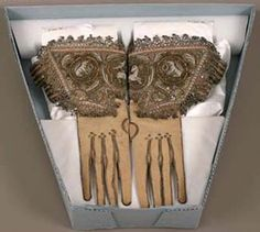 36 x 20 cm x 7 in.), (b): x 20 cm x 7 in.), Gift of Philip Lehman in memory of his wife Carrie L. Costume Accessories, Vintage Accessories, Hunting Gloves, Gauntlet Gloves, Vintage Gloves, Bobbin Lace, Museum Of Fine Arts, Metallic Thread, Wardrobe Ideas