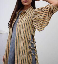 Kurti sleeves design - Grey Ruffled Inner With Mustard Grey Stripe Overlay Kurti Sleeves Design, Kurti Neck Designs, Kurta Designs Women, Blouse Designs, Casual Dresses, Fashion Dresses, Modele Hijab, Designs For Dresses, Indian Designer Wear
