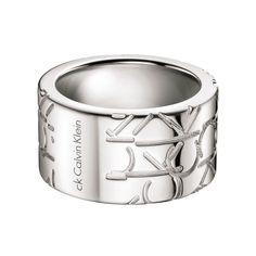 Calvin Klein Logo Sterling Silver Stainless Steel Men's Fashion Ring