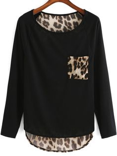 To find out about the Black Round Neck Leopard Punk Comfortable Halloween Eve Sexey Dip Hem T-Shirt at SHEIN, part of our latest T-Shirts ready to shop online today! Suit Fashion, Hijab Fashion, Love Fashion, Fashion Outfits, Animal Print Fashion, Fashion Prints, Sexy T Shirt, Rosa T Shirt, Shirt Diy