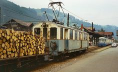 As in the previous picture, this elderly railcar was shunting timber wagons around the narrow gauge MOB side of the station at Zweisimmen. Swiss Railways, Bergen, Old Things, Container, Street View, Iron, Switzerland, Roots, Canisters