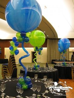 Blue and Green Marble Balloon Centepiece
