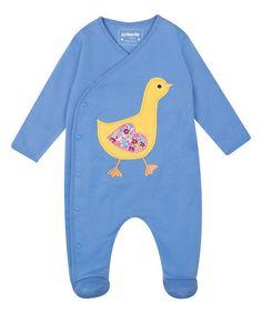 JoJo Maman Bébé Blue Duck Appliqué Footie - Infant | zulily