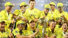Australian players celebrate winning the 2015 ICC Cricket World Cup final
