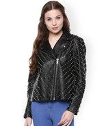 The Vanca Black Full Silver Studded Designed Cowhide Leather Jacket All ... - $289.99+