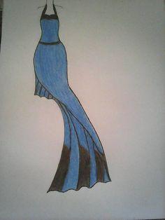 Hand Drawn fashion sketch of blue long dress