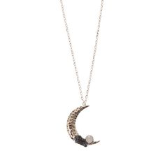 Edgy Stone Moon Pendant Necklace