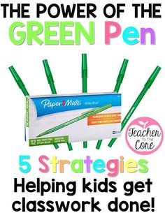 The teacher roams around the room with some green pens and gives completed papers a green star. Those students receive a green pen and get to check their classmates' work. Read more in this post!