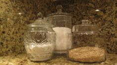 My new pretty jars for sugar, flour and oats storage on my kitchen counter.  Love this.  I am looking to add pretty teacups for scooping in each jar.