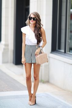 striped shorts, one shoulder top