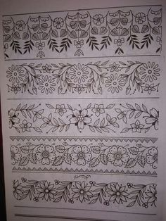 Discover thousands of images about 9867189636 Border Embroidery Designs, Embroidery Transfers, Hand Embroidery Patterns, Embroidery Stitches, Machine Embroidery, Zardozi Embroidery, Hand Embroidery Dress, Embroidery Fashion, Floral Embroidery