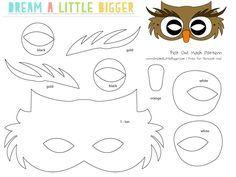 Felt Owl Mask Free Pattern - Dream a Little Bigger Owl Mask, Owl Templates, Applique Templates, Applique Patterns, Printable Templates, Mask Template, Crown Template, Heart Template