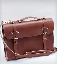Hand-Stitched Leather Briefcase