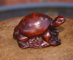 Vintage Wood Netsuke Dark Wood Hand Carved by GillardAndMay