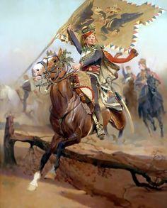 Charge du 2e régiment de hussards- by Edouard Detaille