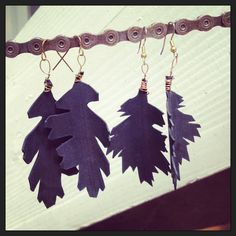 Recycled Bicycle bike Tube Leaf Earrings with by maybirdjewelry, $18.00