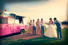 #Bridal party photos with an ice-cream truck. Photo by Jetty Blue Photography. #weddingphotography