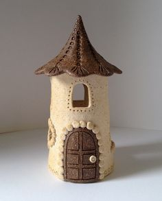 Ceramic Fairy House  Warm White and Red by ccartsy on Etsy, $32.00