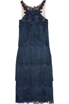 Marchesa Notte | Fringed appliquéd guipure lace dress | NET-A-PORTER.COM