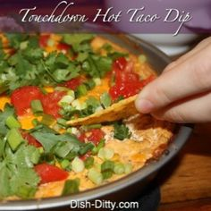 Touchdown Hot Taco Dip - Adapted from Pampered Chef http://www.dish-ditty.com/recipe/touchdown-hot-taco-dip-recipe/